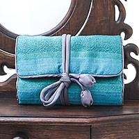 Silk blend jewelry roll, 'Happy Travels in Blue-Green' - Handwoven Silk Blend Thai Jewelry Roll in Green and Blue