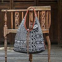 Leather accent cotton blend hobo bag, 'Exotic Geometry in Black' - Handmade Leather Trim Cotton Blend Black & White Hobo Bag