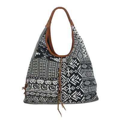Handmade Leather Trim Cotton Blend Black & White Hobo Bag