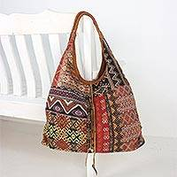Leather accent cotton blend hobo bag,