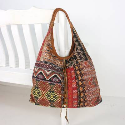 Leather accent cotton blend hobo bag, 'Exotic Geometry in Red' - Handmade Leather Trim Cotton Blend Red & Brown Hobo Bag