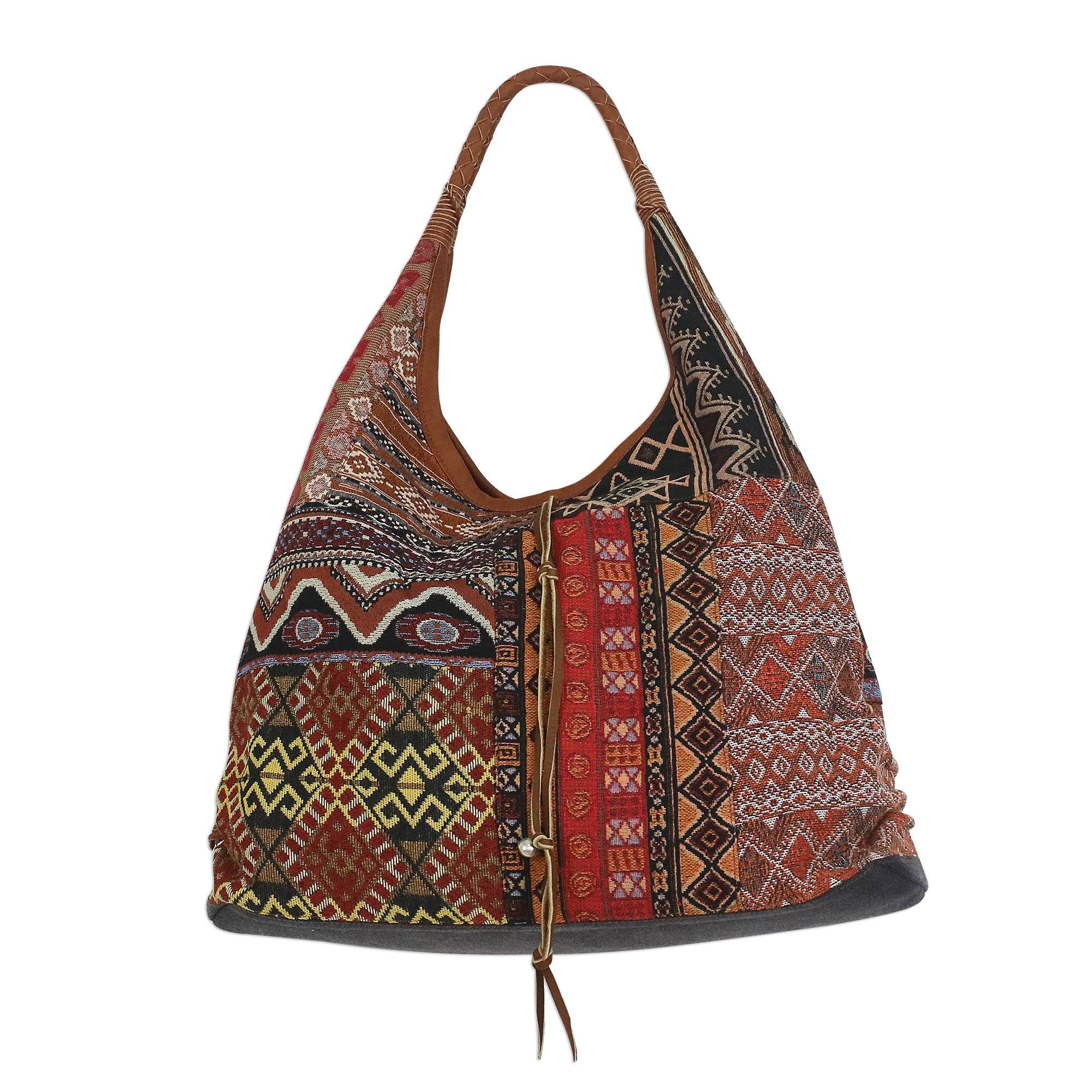 Novica Leather accented cotton blend shoulder bag, Graceful Geometry in Red