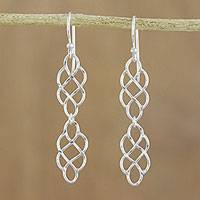 Sterling silver dangle earrings, 'Metallic Lace' - 925 Sterling Silver Long Dangle Earrings with Hook Ear Wires