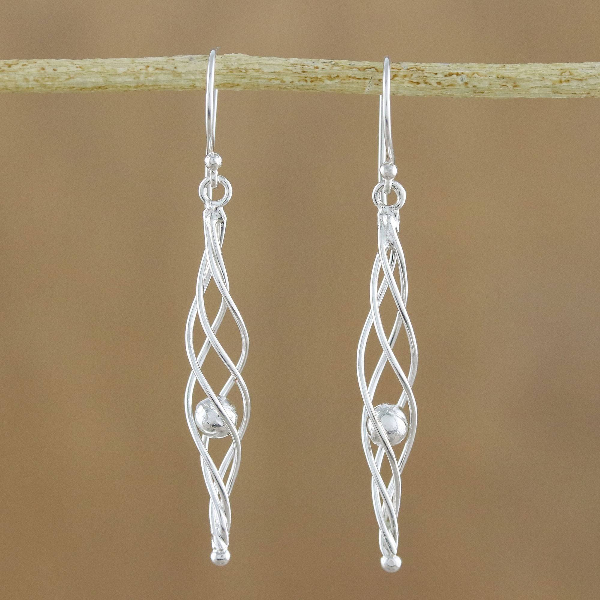 Free shipping Wood and leather dangle earrings on silver ear wires