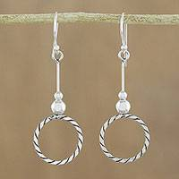 Sterling silver dangle earrings, 'Amazing Circles' - 925 Sterling Silver Dangle Circle Earrings of Thailand