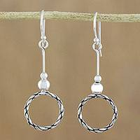 Sterling silver dangle earrings, 'Mesmerizing Circles' - 925 Sterling Silver Dangle Circle Earrings of Thailand