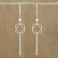 Sterling silver dangle earrings, 'Shimmering Tassels' - 925 Sterling Silver Chain Tassel Dangle Earrings