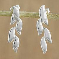 Sterling silver drop earrings, 'Floating Leaves' - 925 Sterling Silver Leaves Post Drop Earrings