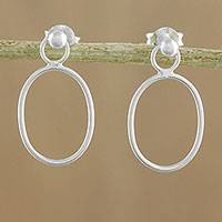 Sterling silver dangle earrings, 'Elegant Oval' - 925 Sterling Silver Oval Frame Dangle Earrings with Posts