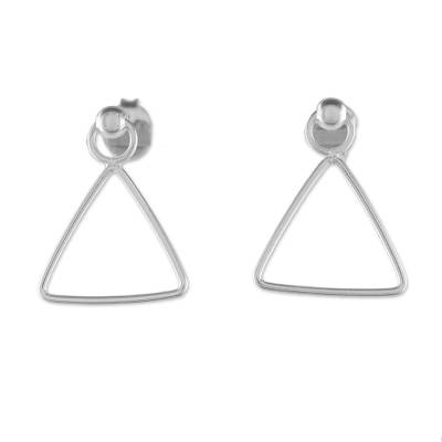 925 Sterling Silver Triangle Frame Earrings of Thailand