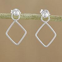 Sterling silver dangle earrings, 'Elegant Diamond' - 925 Sterling Silver Diamond Shaped Frame Earrings