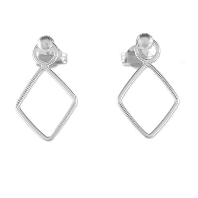 925 Sterling Silver Diamond Shaped Frame Earrings