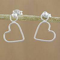 Sterling silver dangle earrings, 'Elegant Heart' - 925 Sterling Silver Heart Shaped Frame Earrings