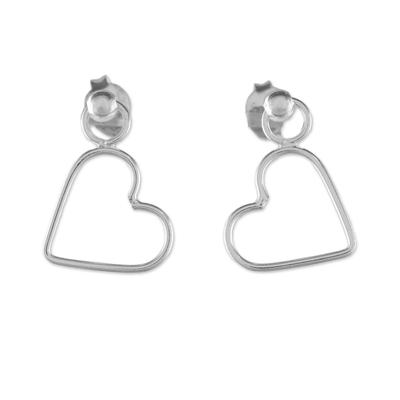 925 Sterling Silver Heart Shaped Frame Earrings