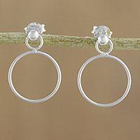 Sterling silver dangle earrings, 'Elegant Loop' - 925 Sterling Silver Loop Shaped Frame Earrings