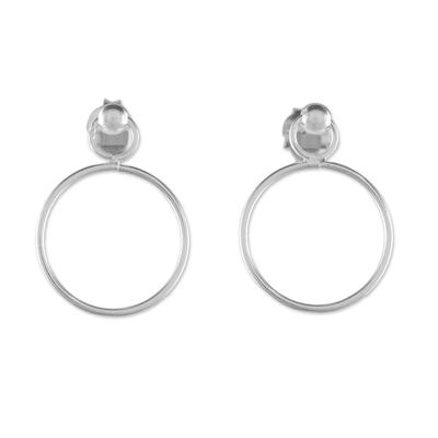 925 Sterling Silver Loop Shaped Frame Earrings
