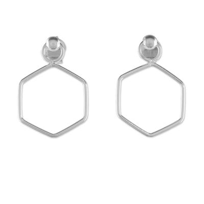 925 Sterling Silver Hexagon Shaped Frame Earrings