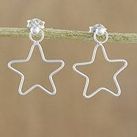 Sterling silver dangle earrings, 'Majestic Stars' - 925 Sterling Silver Star Shaped Frame Earrings