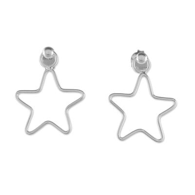 925 Sterling Silver Star Shaped Frame Earrings