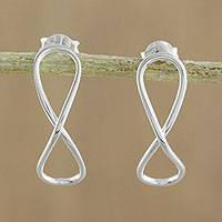Sterling silver drop earrings, 'For All Time' - Sterling Silver Infinity Symbol Drop Earrings