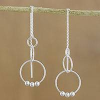 Sterling silver threader earrings, 'Cascading Circles' - Sterling Silver Cascading Circles Threader Earrings