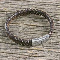 Men's leather wristband bracelet, 'Interlace in Dark Brown' - Men's Leather Braided Wristband Bracelet from Thailand