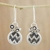 Silver dangle earrings, 'Woven Moon' - Karen Hill Tribe Silver Woven Circle Dangle Earrings