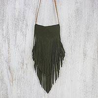 Suede sling, 'Simply Bohemian in Olive' - Handcrafted Suede Sling in Olive from Thailand