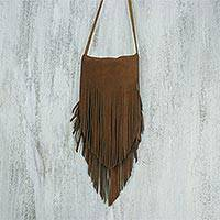 Suede sling, 'Simply Bohemian in Chestnut' - Handcrafted Suede Shoulder Bag in Chestnut from Thailand