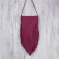 Suede sling, 'Simply Bohemian in Burgundy' - Handcrafted Suede Sling in Burgundy from Thailand