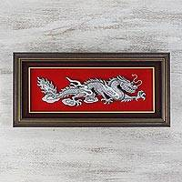 Aluminum relief panel, 'Dragon Power' - Artisan Crafted Aluminum Dragon Relief Panel from Thailand