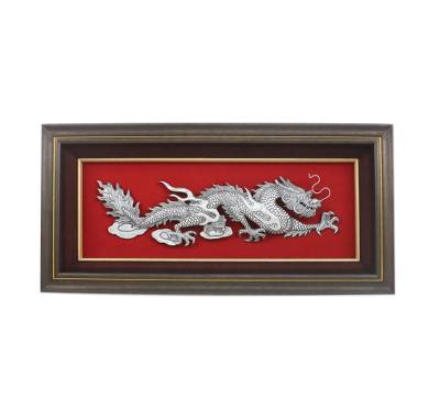 Artisan Crafted Aluminum Dragon Relief Panel from Thailand