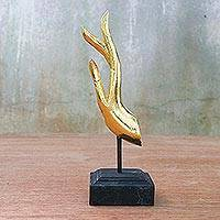 Wood sculpture, 'Buddha Greeting in Gold' - Golden Hand Carved Acacia Wood Hand Sculpture