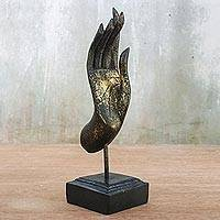 Wood sculpture, 'Glittering Friendly Blessing' - Gold-Tone and Black Wood Hand Sculpture from Thailand