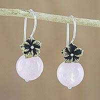 Rose quartz dangle earrings, 'Lunar Florescence'