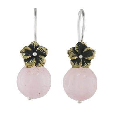 Rose quartz dangle earrings, 'Lunar Florescence' - Hand Crafted Rose Quartz Dangle Earrings with Brass Flower