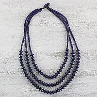 Wood strand necklace, 'Island Allure in Purple' - Purple Wood Beaded Strand Necklace from Thailand