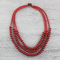 Wood beaded strand necklace, 'Island Allure in Crimson' - Red Wood Beaded Strand Necklace from Thailand