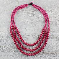 Wood beaded strand necklace, 'Island Allure in Ruby' - Red Wood Beaded Strand Necklace from Thailand