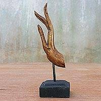 Wood sculpture, 'Buddha Greeting in Gold Foil' - Brown and Gold Hand Carved Acacia Wood Hand Sculpture