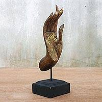 Wood sculpture, 'Sparkling Friendly Blessing' - Gold-Tone and Brown Wood Hand Sculpture from Thailand