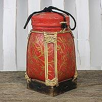 Ceramic and bamboo decorative jar, 'Willow Grove' - Handmade Red and Gold Decorative Rice Jar from Thailand