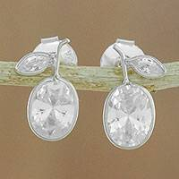 Quartz stud earrings, 'Sparkling Pears'