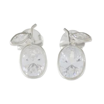 Sparkling Quartz Stud Earrings from Thailand