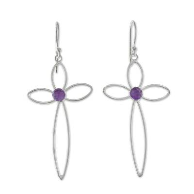 Amethyst dangle earrings, 'Sublime Crosses' - Cross-Shaped Amethyst Dangle Earrings from Thailand