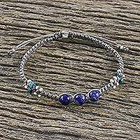 Lapis lazuli macrame bracelet, 'Karen Waves' - Lapis Lazuli Macrame Bracelet from Thailand