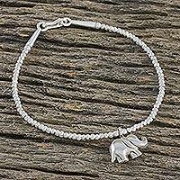 Sterling silver charm bracelet, 'Elephant's Charm' - Fine Silver Elephant Charm, Sterling Silver Beaded Bracelet
