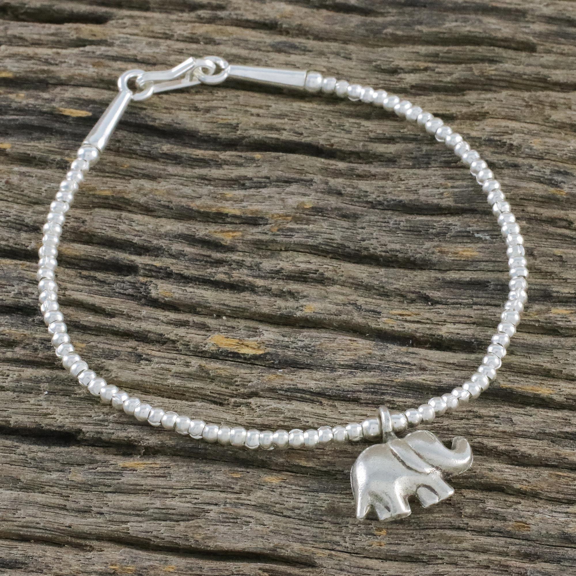be592a0f1a373 Fine Silver Elephant Charm, Sterling Silver Beaded Bracelet, 'Elephant's  Charm'
