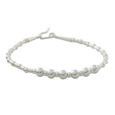 Silver beaded bracelet, 'Silver Joy' - Thai Handcrafted Hill Tribe 950 Silver Beaded Bracelet