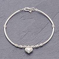 Sterling silver charm bracelet, 'Heart Beat' - Fine Silver Heart Charm on Sterling Silver Beaded Bracelet
